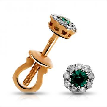 Серьги-пусеты из золота с изумрудом и бриллиантами