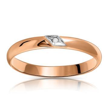 Кольцо обручальное из золота с бриллиантом