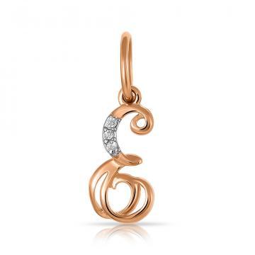 Подвеска буква Е из золота с фианитами