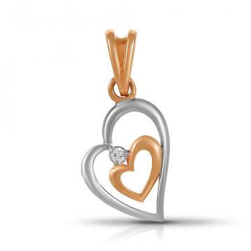 Подвеска TALANT Сердце из золота с фианитом
