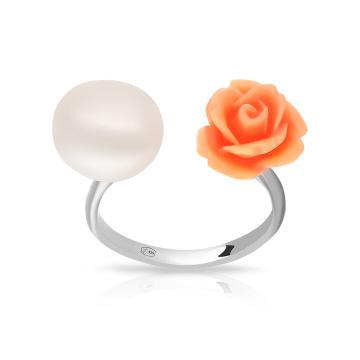 Кольцо из серебра с кораллом и жемчугом