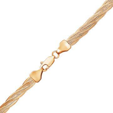 Браслет, плетение Косичка двойная, из золота