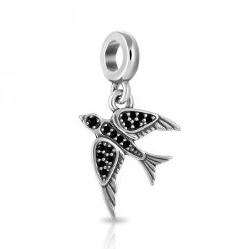 Подвеска-шарм Птица из серебра со шпинелью