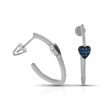 Серьги-пусеты Сердце из серебра с фианитами