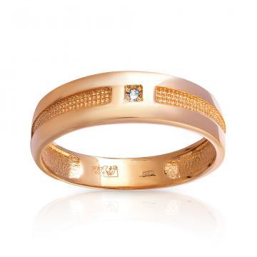 Кольцо обручальное с фианитом из золота