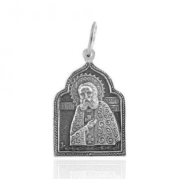 Подвеска-икона преподобный Серафим Саровский из серебра