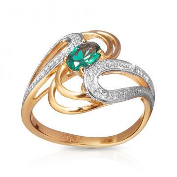 Кольцо с турмалином и фианитами из золота