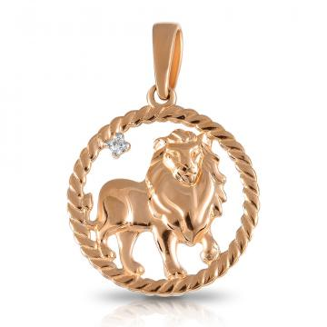 Подвеска TALANT из золота с фианитом, знак зодиака Лев