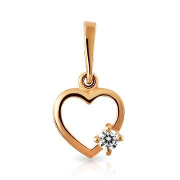 Подвеска Сердце с фианитом из золота