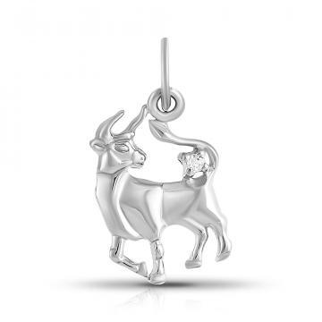 Подвеска из серебра с фианитами, знак зодиака Телец