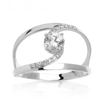 Кольцо с кристаллом SWAROVSKI и фианитами из серебра