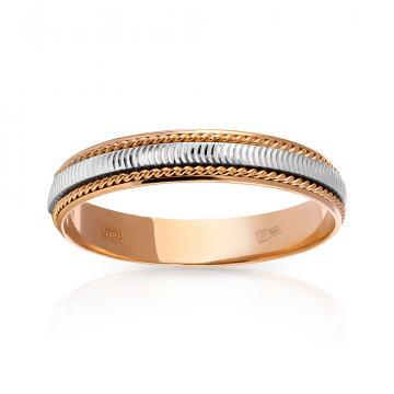 Кольцо обручальное Косы, премиум, 4 мм