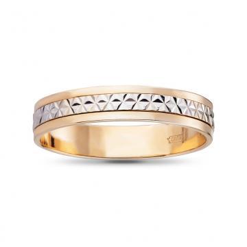 Кольцо обручальное из золота с вращающейся вставкой, 4 мм