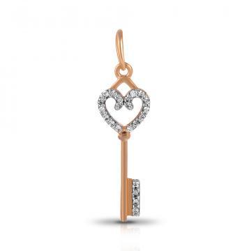 Подвеска Ключик из золота с бриллиантами