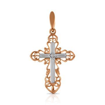 Подвеска-крестик из золота с бриллиантом
