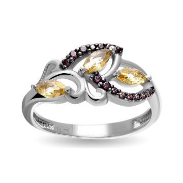 Кольцо с ювелирными кристаллами, шпинелью и фианитами из серебра