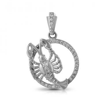 Подвеска из серебра с фианитами, знак зодиака Рак
