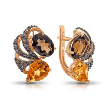 Серьги из золота с цитринами, раух-топазами и фианитами