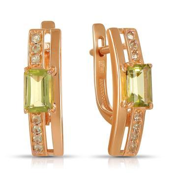 Серьги из золота с хризолитами и фианитами