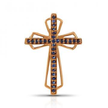 Подвеска-крестик из золота с сапфирами