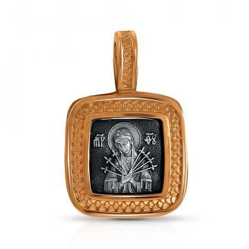 Подвеска-икона Божия Матерь Семистрельная из серебра