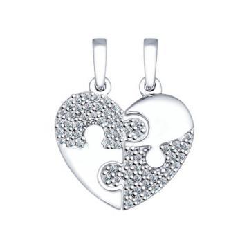 Подвеска Сердце SOKOLOV с фианитами из серебра