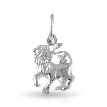 Подвеска из серебра с фианитом, знак зодиака Лев