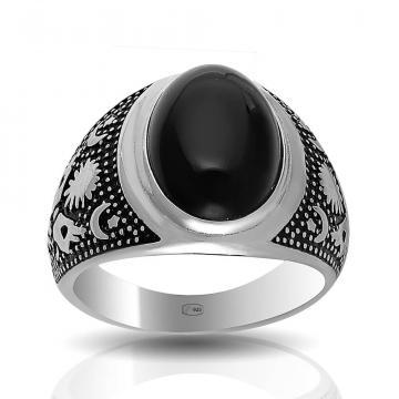 Кольцо из серебра с агатом