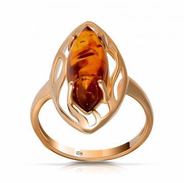 Кольцо с янтарем из серебра