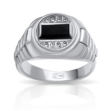 Кольцо-печатка из серебра с оникс и фианитами