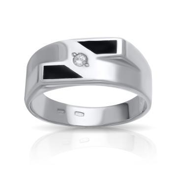 Кольцо-печатка из серебра с эмалью и фианитом