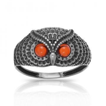 Кольцо Сова из серебра с янтарем