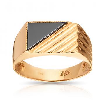 Кольцо-печатка с фианитом из золота