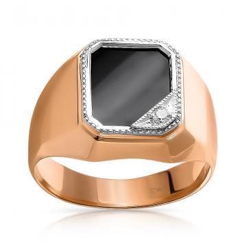 Кольцо-печатка из золота с агатом и фианитом