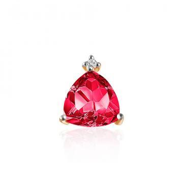 Серьга-пусета TALANT из золота с рубином и бриллиантом