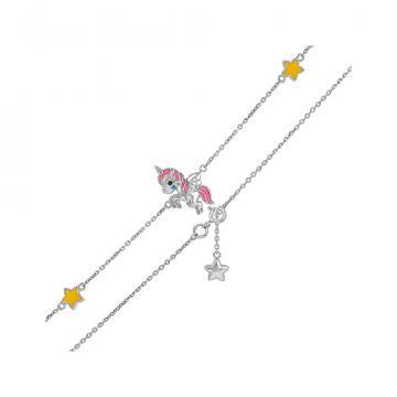 Браслет детский TALANT Единорог из серебра с эмалью