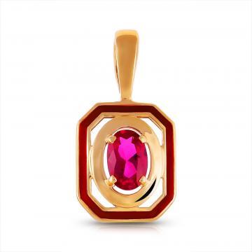 Подвеска из золота с рубином  и эмалью