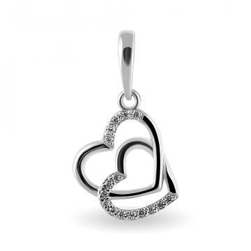 Подвеска Сердце из серебра с фианитами