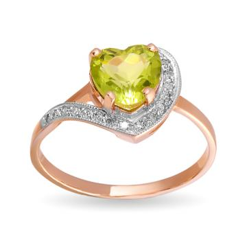 Кольцо из золота с хризолитом и бриллиантами