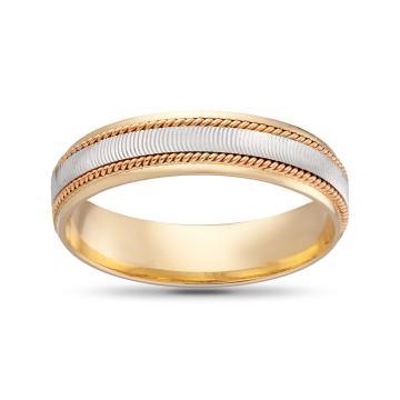 Кольцо обручальное Косы, премиум, 4мм