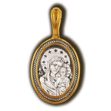 Образок Казанская икона Божией Матери из серебра