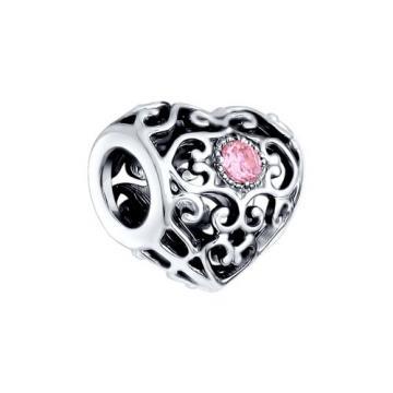 Подвеска-шарм Сердце SOKOLOV с фианитом из серебра