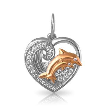 Подвеска Рыбка из серебра с фианитами