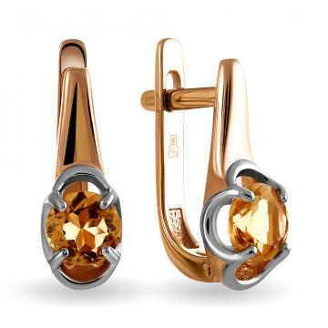 Серьги из золота с цитрином