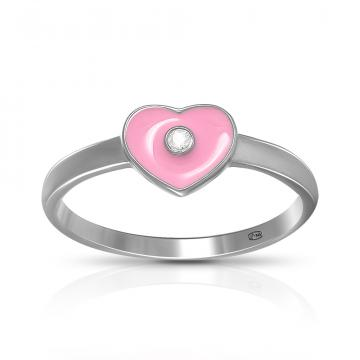 Кольцо детское TALANT Сердце из серебра с эмалью
