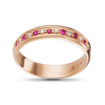 Кольцо обручальное с рубинами и бриллиантами из золота