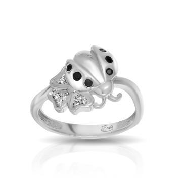Кольцо Божья коровка из серебра с фианитами