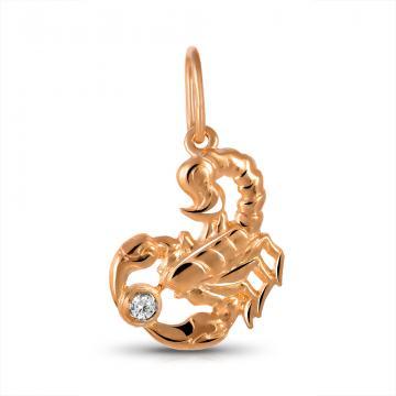 Подвеска из золота с фианитами, знак зодиака Скорпион