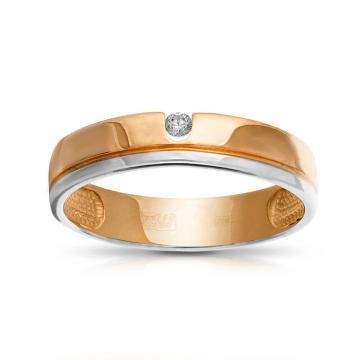 Кольцо обручальное с кристаллом SWAROVSKI из золота