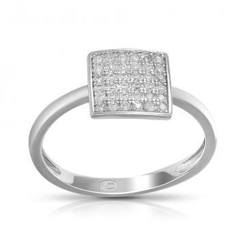 Кольцо Квадрат из серебра с фианитами,коллекция Геометрия